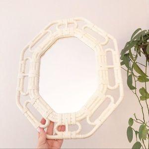 Vintage Homco Faux Bamboo Wood White Mirror